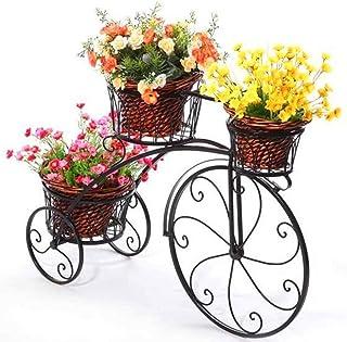Yxsd Soporte De Flor For Bicicletas De Hierro Forjado, Soporte De Maceta For Plantas De 3 Niveles Patio De Jardín Decorativo Moderno Soporte For Exhibición De Bicicletas Pequeñas Con Capacidad For 3 M
