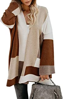 Ivay Womens Striped Knit Cardigan Sweaters Color Block Chunky Open Front Long Sleeve Fall Coats