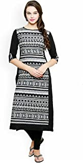 Indian Handicrfats Export AnjuShree Choice Women's Printed Cotton Black Straight Kurti
