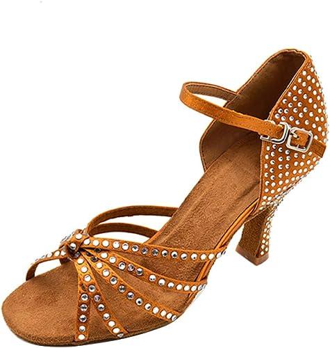 WHL.LL mujeres Satín zapatos Baile latino Diamante Imitación Correa de tobillo Hebilla Cha Cha Baile Sandalias Interior Salón de baile Sandalias