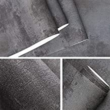 MUMUWU Dark Gray Vintage Vinyl Concrete Wall Effect Wallpaper Retro Plain Texture PVC Wall Paper Bedroom Living Room Backg...