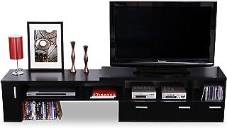 LOWYA (ロウヤ) テレビ台 テレビボード 伸縮 角度自由 コーナー ローボード 50インチ対応 木製 109cm~198cm ブラック おしゃれ 新生活