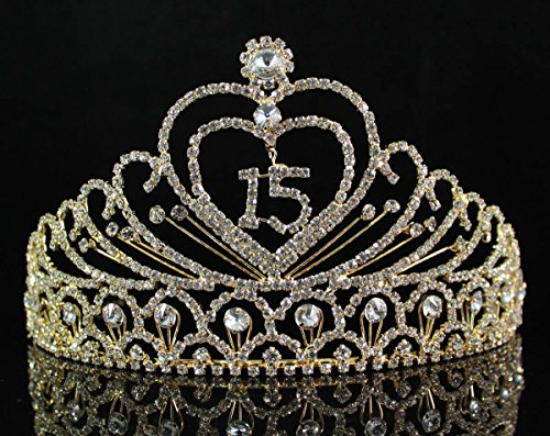 Quinceanera Sweet 15 Fifteen Years Old15th Birthday Party Princess Coronas de Quinceañeras Austrian Rhinestone Crystal Tiara Crown With Hair Combs T1756g Gold