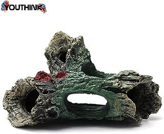 YOUTHINK Adorno de Acuario de Resina de Madera, Tronco Tronco decoración de pecera con Agujeros Accesorios de Pescado escondite Cueva escondite