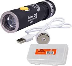 Armytek Prime C1 Pro 1050 Lumens Rechargeable Flashlight with Magnetic USB Charger and Rechargeable Battery Plus Lumen Tactical Battery Organizer