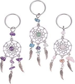 PH PandaHall 12PCS 3-Color Dreamcatcher Keychain Keyring Natural Chip Gemstone Feather Key Chain Bag Hanging Ring Ornaments Car Pendant