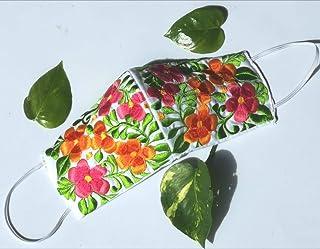 Increíble y elegante cubrebocas bordado artesanal   Tricapa   Lavables   Hechos a mano   Técnica Yucateca   Blanco con col...