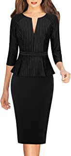 VFSHOW Womens Slim Zipper up Work Business Office Party Bodycon Sheath Dress