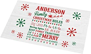 GiftsForYouNow Personalized Christmas Family Rules Doormat, 18