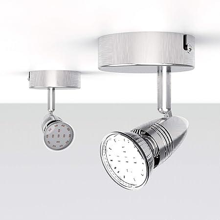 NEUE DAWN Plafonnier 1 spot LED, applique murale gu10 ampoule 3W 280Lm, lampe spot plafond intérieur/extérieur, luminaire Orientable et Pivotante pour cuisine salon chambre [Classe énergétique A+]