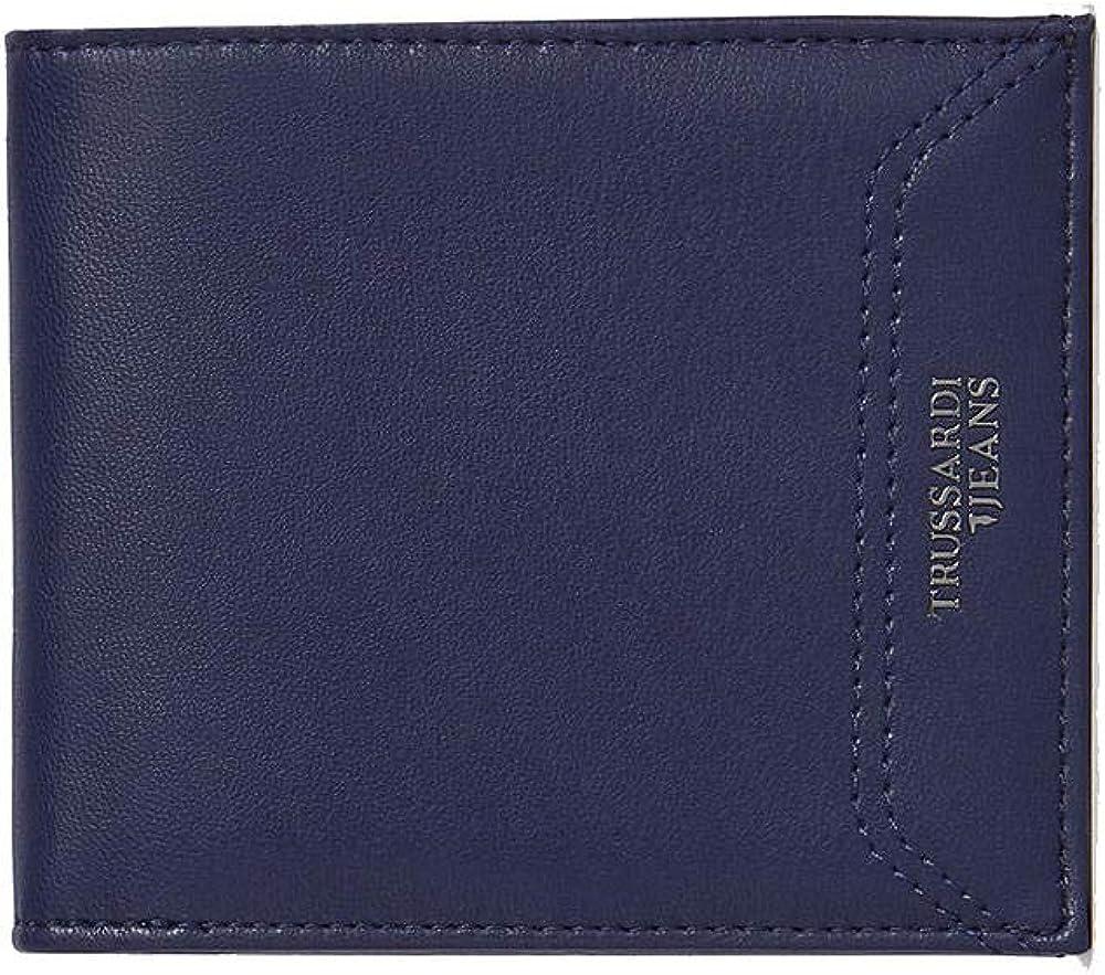 Trussardi jeans , portafoglio per uomo business affair , in pelle sintetica