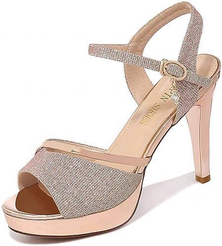 LTN Ltd - sandals Bien avec la Bouche de Poisson Sandales pour Femmes Chaussures D'été pour Femmes Amusantes Chaussures à Talons Hauts, Chroma, 37