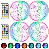 Pool Lights Underwater, Submersible Led Lights with Remote, Color Changing Waterproof Magnetic Bathtub Light with Suction Cup Hot Tub Light for Pond Fountain Aquariums Vase Garden Party 4-Pack