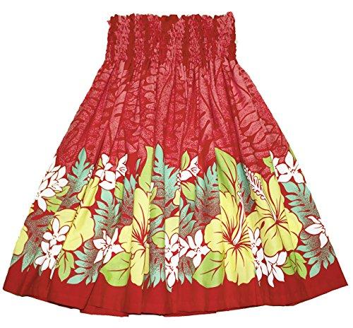 夏威夷pa'u hula裙夏威夷打印女装(绿色)(红色,黄色)