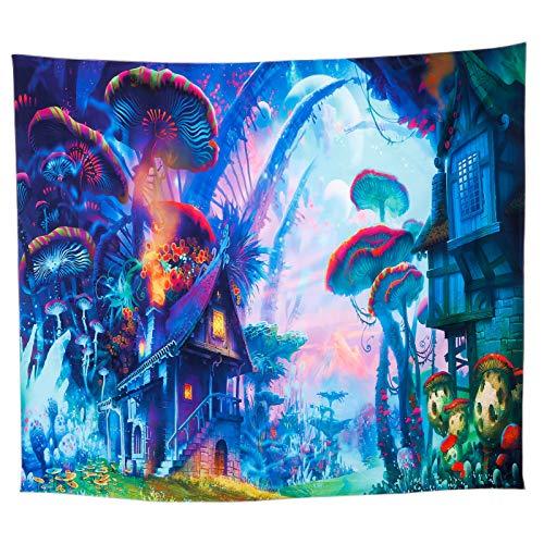 RosewineC Tapiz psicodélico, planetas, setas, bosque de sueños, toalla de pared para dormitorio, universidad, salón, decoración de pared, manta de picnic (130 x 150 cm)