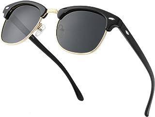 Sponsored Ad - Retro Semi-Rimless Polarized Sunglasses for Men Women Driving Sun glasses 100% UV Blocking