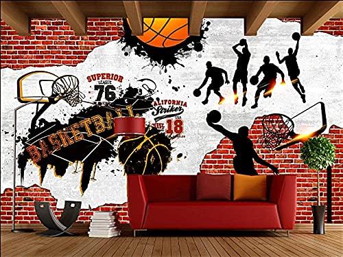 Equipo de vida Imagen de pared Decoración Papel tapiz Foto Efecto 3D Lienzo Arte de la pared Sala de estar Dormitorio Cafetería Bar Fondo de TV Calcomanías de pared Mural-Baloncesto NBA Arena 3 (25