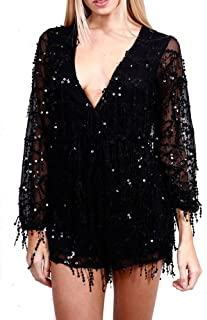 Long Sleeve Slim Soft Lining Casual Jumpsuit Romper with Sequins