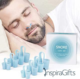 Anti Snoring Devices by InspiraGifts - Snoring Solution - 8 Snorecare Nose Vents - Best Nasal Dilators – Snoring Remedies – Natural Snore Relief - Fast Safe Snore Relief - Snore Stopper (Blue)