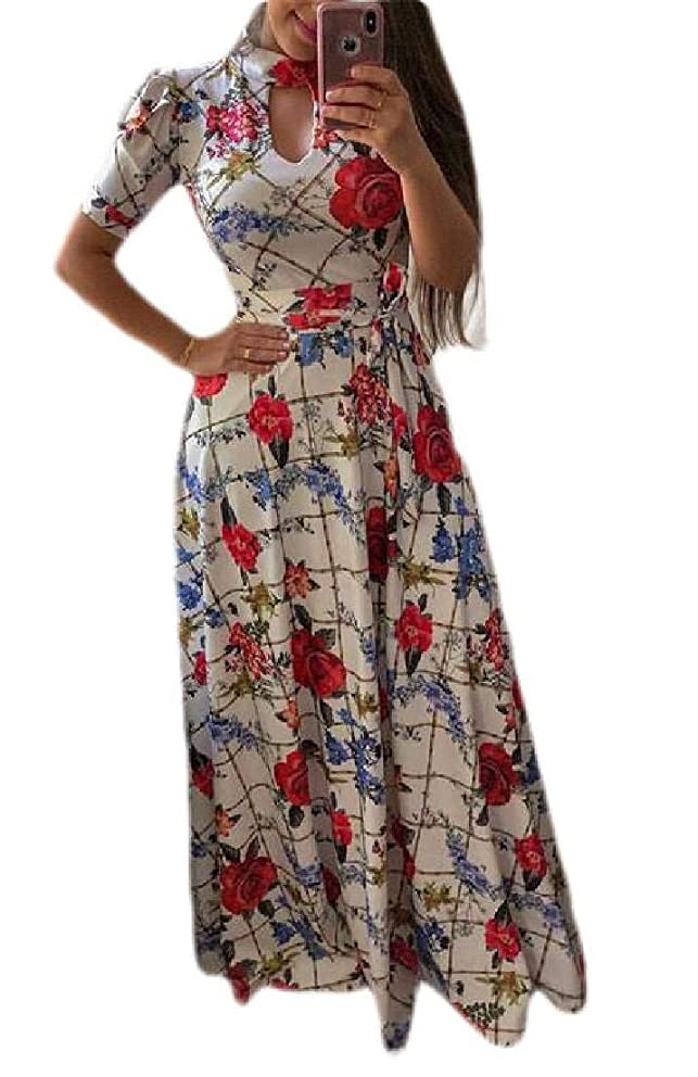 Fubotevic Womens Plus Size Short Sleeve Floral Print Beach Dress Bohemian Maxi Dress