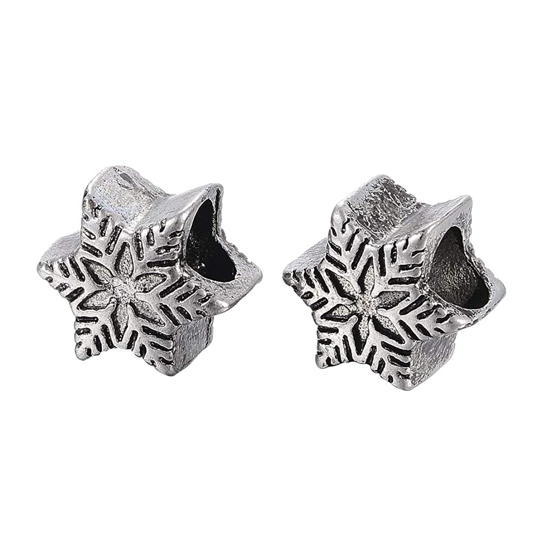 PH PandaHall 6pcs Stainless Steel European Beads Large Hole Charm Beads Antique Silver Spacer Beads Snowflake Shape Charms for Bracelet Necklace Making 13x11x8.5mm