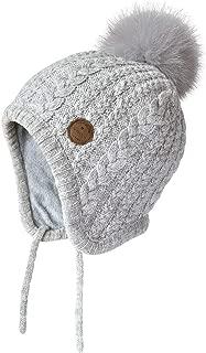 Toddler Kids Winter Ear Flap Beanie Hat Boy Girl Fur Pompom Knit Hats