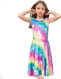 Áo quần dành cho bé gái – Girls Unicorn Rainbow Long Sleeve/Sleeveless Swing Dress for Costume Party Birthday