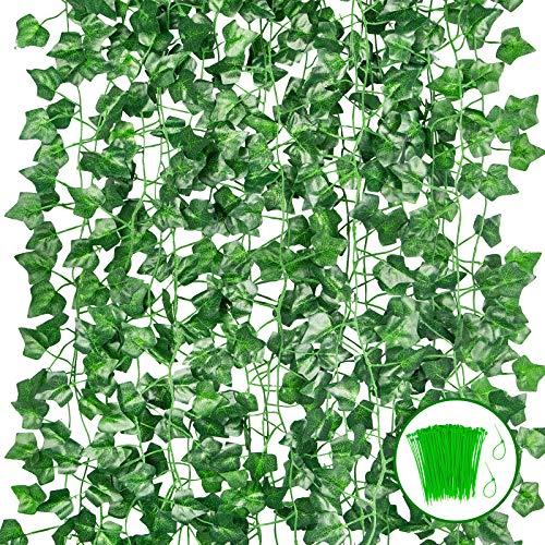 Ouddy 24 Piezas de Guirnalda de Hiedra Artificial 165 Ft Guirnalda de Hiedra Falsa Resistente a Los Rayos UV Planta Falsa Vid Hoja Verde Colgante + 100 Bridas para Cables