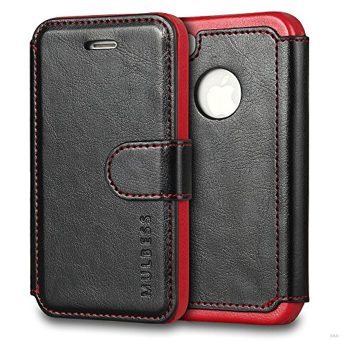 Mulbess Cover per iPhone 4s, Custodia Pelle con Magnetica per iPhone 4 / 4s Case, Nero