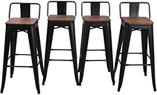 """HAOBO Home 30"""" Low Back Barstools Metal Stool with Wooden Seat [Set of 4] Counter Height Bar Stools, Matte Black"""