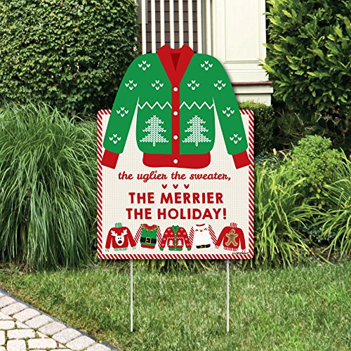 Big Dot of Happiness Ugly Sweater - Party Decorations - Holiday & Christmas Welcome Yard Sign