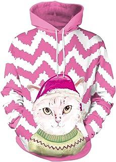 ZHRUI Navidad Casual Pullover Moda Cachorro Gatito Reno Papá Noel Patrones con Capucha (Color :