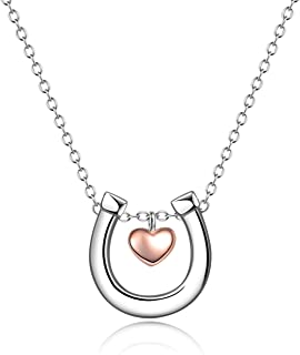 POPLYKE Sterling Silver Horseshoe Necklace Horse Jewelery Gifts for Women