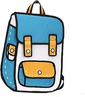 Angelliu Unisex Adult's 3D Jump Style 2D Drawing From Cartoon Comic Backpack School Shoulder Bag Blue