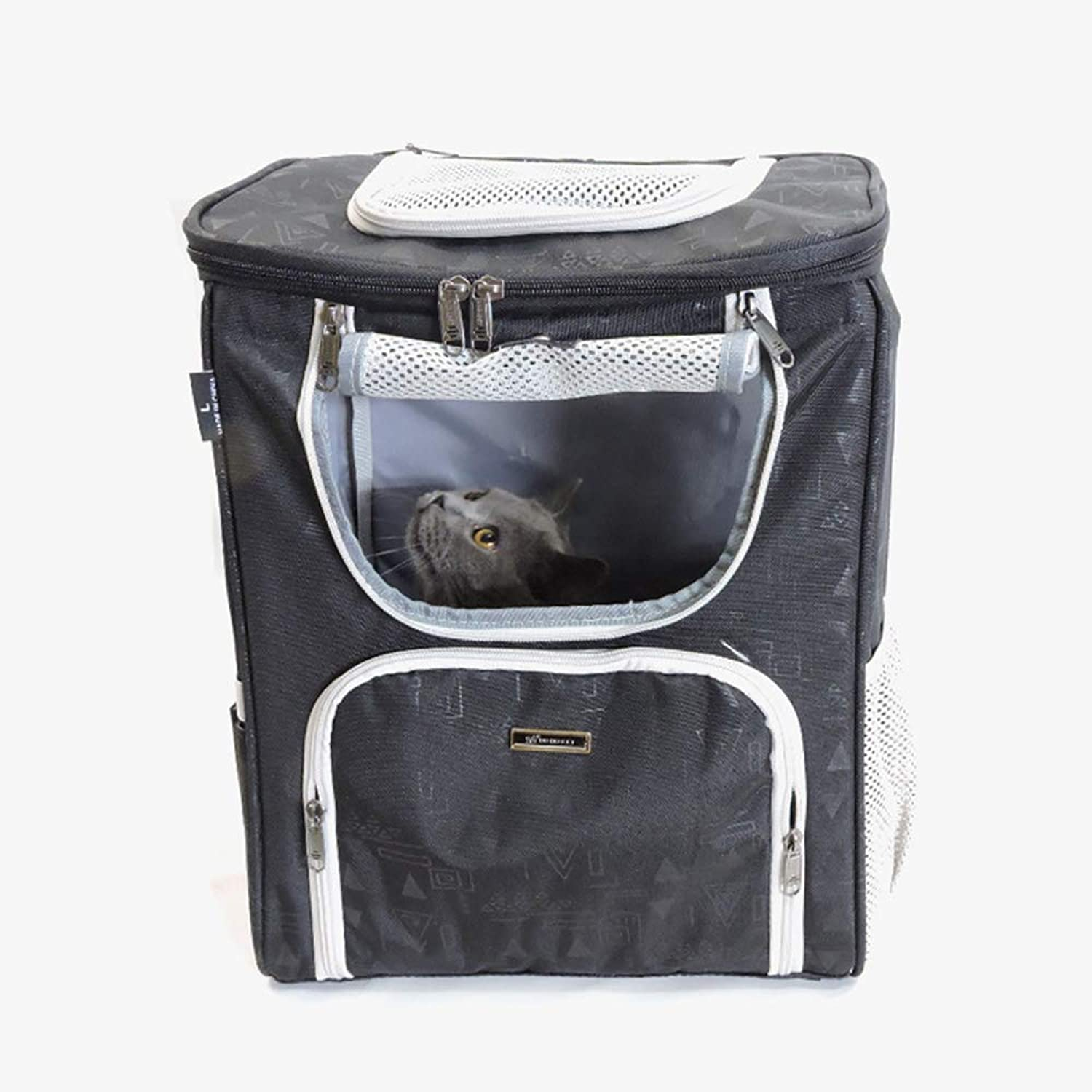 MOIMK Pet Carrier Backpack Dog Travel Bag Top Opening Mesh SoftSided Strap Dog Cat Carrier Foldable Outdoor Travel Double Shoulder Bags,Black