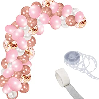 Bright Tricks Real Rose Gold 112 Pieces Balloon Garland Kit Balloon Arch for Weddings, Birthdays, Bridal Shower Decorations, Bachelorette Party, Backdrop Decorations RoseGold Confetti Blush Pink White