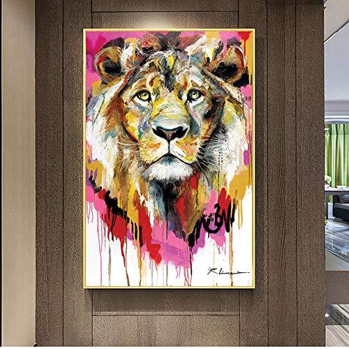 KWzEQ Imprimir en Lienzo Imagen Moderna del Arte del onhomewall del león60x90cmPintura sin Marco