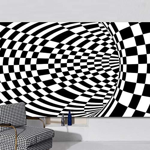 NOBCE Alfombra de ilusión estéreo Visual de Rejilla en Blanco y Negro Visual 3D Alfombra de Piso de Sala de Estar de Oficina de Hotel 100X200CM