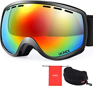Gonex Ski Snow Goggles Anti-Fog Windproof UV400 Protection with Double Spherical Lens with Goggle Case