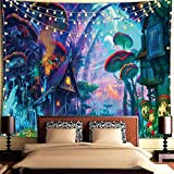 Tapiz de Pared Psicodélico,Tapices de la Casa de Setas Tapiz Abstracto Hippie Tapiz de Cuento de Hadas, Tapestry Decoración de Pared para Dormitorio Sala de Estar (150x130 cm)