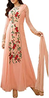 Ethnic Empire Women's Faux Georgette Semi Stitched Anarkali Salwar Suits (Ethnic_ERR10000726_Free Size_Orange)
