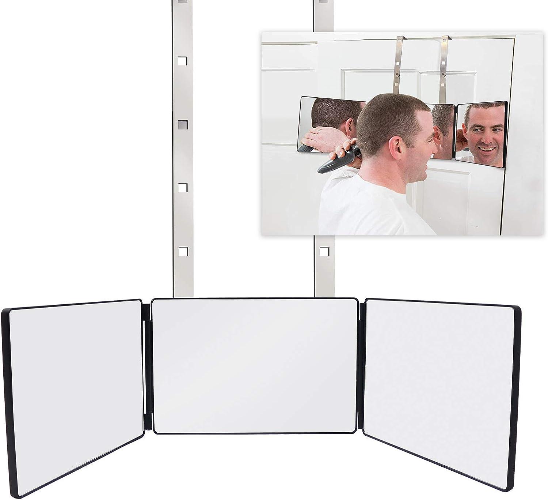 FASCINATE Espejo Maquillaje Espejo de 3 vías Tríptica Espejo con Soportes Altura Ajustable para Maquillaje, Peinado, Teñido, Corte, Aseo, Espejo de Ducha, Espejo de Afeitar, Espejo Colgante