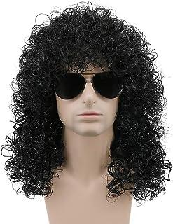 Karlery 70s 80s Rocker Mullet Wig Mens Long Curly Black Wig Halloween Party Costume Wig