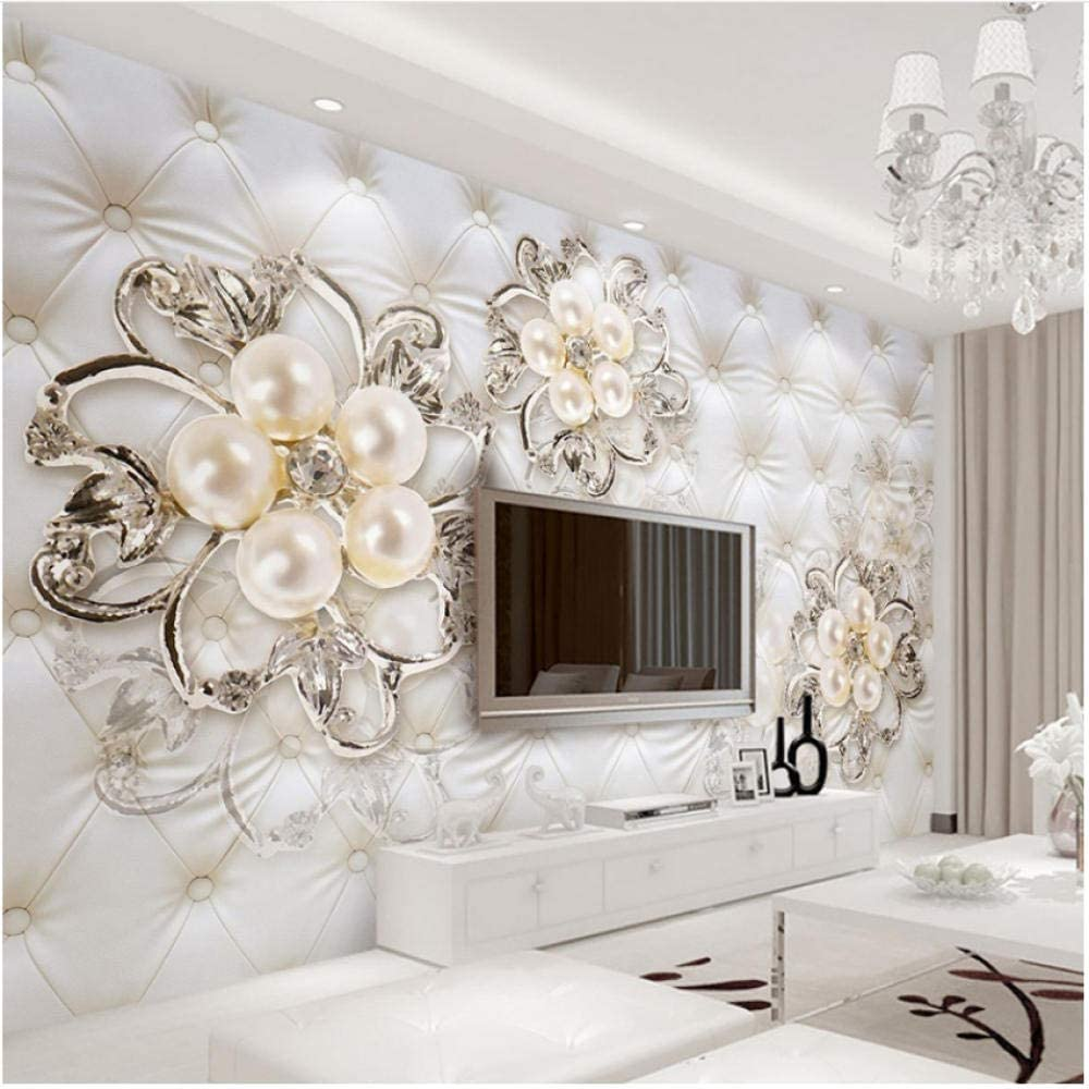 xbwy Mural Wallpaper European Limited time for free shipping specialty shop Style Jewelry Pearl Stereo Flowers
