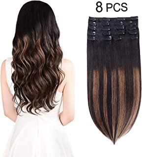 Winsky Ombre Clip in Human Hair Extensions - 120g 8pcs 20clips Natural Black to Chestnut Brown Highlight Black Balayage Thick Hair Pieces for Women (12inch, (1BT6) P1B)