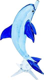 Craft Collectibl.e MINIATURE HAND BLOWN GLASS Blue Dolphin 01 FIGURINE Animals