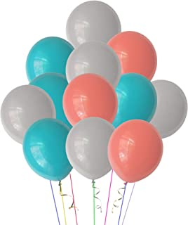 Pastel Assorted Rainbow Color Balloons for Birthday Wedding Baby Bridal Shower Party Decorations (Turquoise Blue +Gray + Coral)