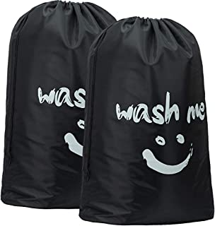 HOMEST 2 Pack XL Wash Me Travel Laundry Bag, Machine Washable Dirty Clothes Organizer, Large Enough to Hold 4 Loads of Laundry, Easy Fit a Laundry Hamper or Basket, Black