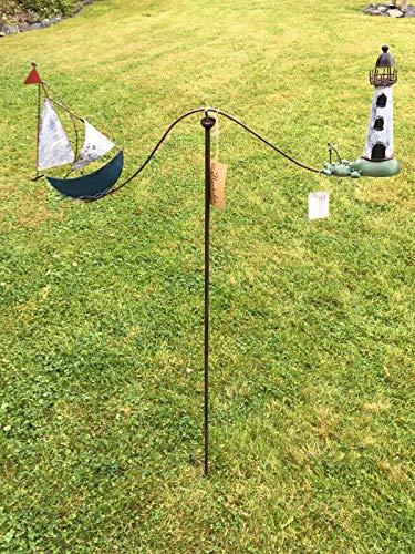 villa-lilla Windspiel Wippe * Schiff & Leuchtturm * ArtFerro Handarbeit Metall Gartenstecker
