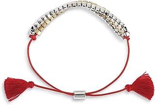 DEMDACO Beaded Metallic and Red 3 inch Brass Metal Acrylic and Thread Bracelet